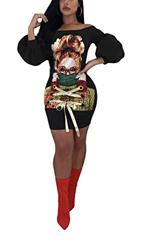 Felicity Young Women's Casual Off Shoulder Long Puff Sleeve Digital Print Graphic Tunic Sweatshirt Dress Loose T Shirt Blouse Tops Black, Medium - Puff Shoulder Dress