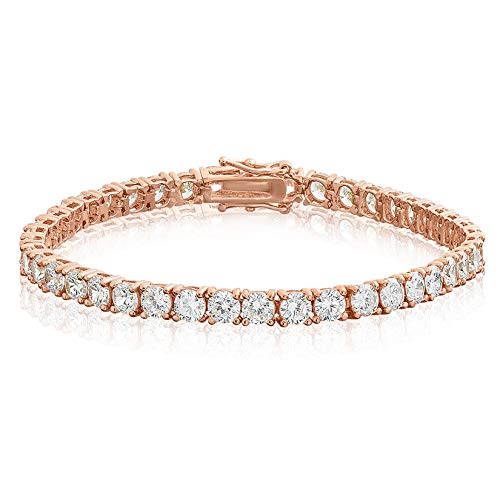 KEZEF Creations Rose Gold Plated Brass Round Cut 4mm White Cubic Zirconia Tennis Bracelet 6.5 inch