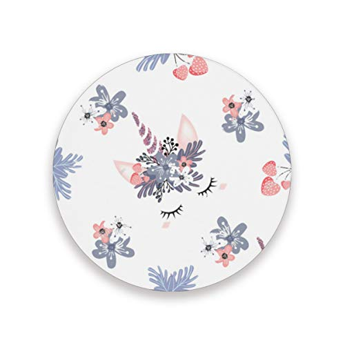 Coasters Cute Unicorn Head With Corolla And Rosegold Glitter Horns Round Cup Mat for Drink Cup Pad for Home/Office/Kitchen/Bar Set of 1/2/4