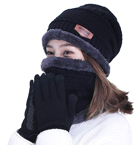 Accessories Gloves Scarves - HINDAWI Black Slouchy Beanie Scarf Gloves Set Women Warm Skull Cap Scarves Touch Screen Mittens