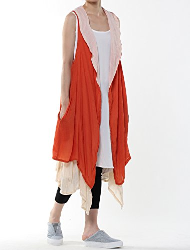 Mordenmiss Women's Contrast Color Long Waistcoat Asymmetry Hem Casual Vest Style 2-Orange by Mordenmiss (Image #3)