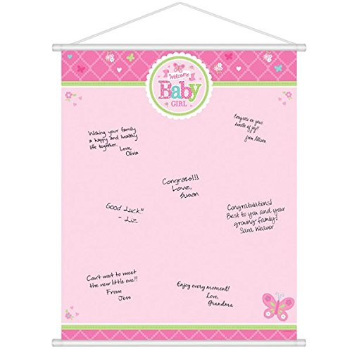 Amscan Appealing Welcome Little One Girl Sign in Sheet Baby Shower Party Supplies, 24 x 19