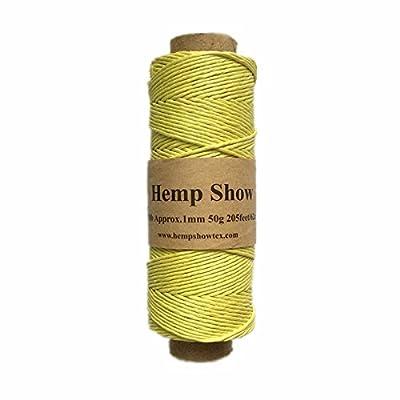 HempShow-100% Hemp Twine 0.5mm-50g-120m (Yellow) : Office Products