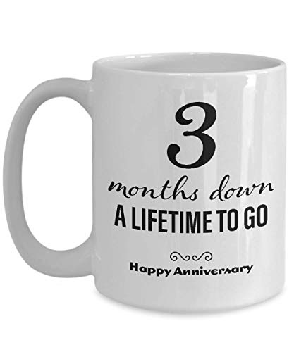3 Month Anniversary Gifts for Boyfriend - Three Month Anniversary Gifts for Girlfriend - Happy Anniversary Coffee Mug for Him Her Men Women Couple Friend Lesbian Gay Long Distance