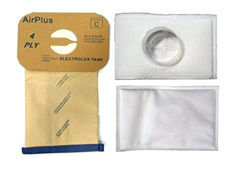 EnviroCare Replacement Vacuum Cleaner Dust Bags and After Filter for Electrolux Canister Tank Style C 8 Bags and 2 After Filters