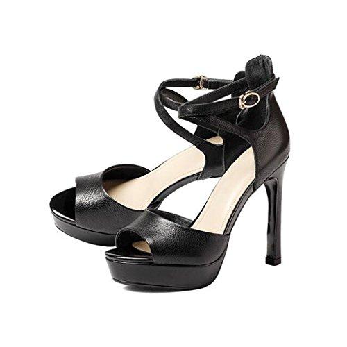 W&LM ms tacones altos sandalias de gama alta plataforma impermeable boca de pez tacones altos hebilla de la palabra sandalias cuero auténtico zapato Black