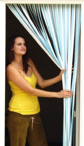 Holland Plastics Original Brand Slat Type Curtain/Fly Blind With Pair Of Self Adhesive Hooks For Upvc Doors. 'Sky Blue & White'