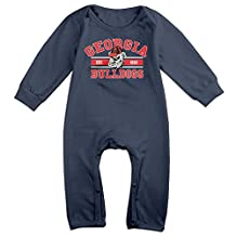 ElishaJ Georgia Football School Sports Logo Babys Long Sleeve Romper Onesie Navy