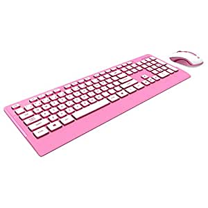azio hue wireless keyboard and mouse candy pink km507pn computers accessories. Black Bedroom Furniture Sets. Home Design Ideas