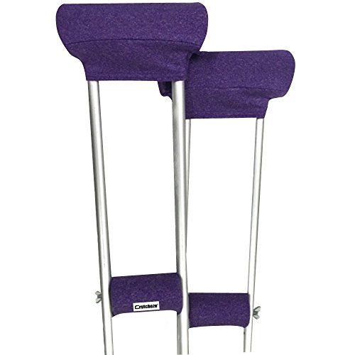 Crutcheze Purple Heather Crutch Pad Set - Underarm & Hand Grip Covers with Comfortable Padding - Crutch Accessories Made In USA (2 Armpit, 2 Hand - Grip Crutch Hand Pad