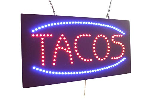Tacos Sign, Super Bright High Quality LED Open Sign, Store Sign, Business Sign, Windows Sign ()
