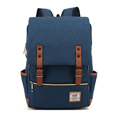 Minetom Casual Escuela Unisex Moda Vintage Mochila Backpack Rucksack Mochila Escolar para Ordenador Portátil Azul Oscuro