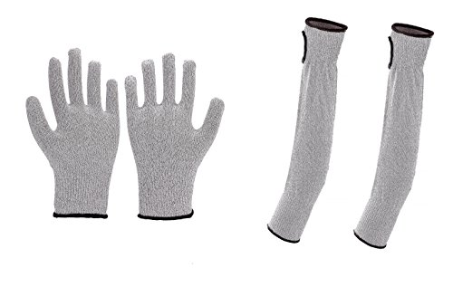 Abrasion Resistant - Cut Resistant Sleeves: 18-Inch with thumb slots, Cut Resistant Gloves Included, protects against UV Rays, Level 5 Protection, Anti Slash Sleeves And Gloves, Abrasion Resistant