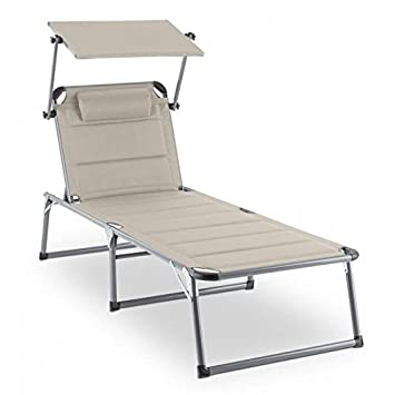 BLUMFELDT Amalfi Outdoor Portable Folding Lounge Chair 5 Reclining Positions Sunshade Adjustable Pillow Resistant Polyester Cover Beige