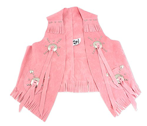 M & F Western Girls' Faux Suede Cowgirl Vest Pink Small -