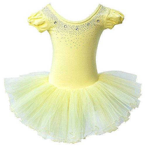 [Kids Rhinestone Sparkle Dance Costumes Short Sleeve Tutu Ballet Dress for Little Girls 3-8 Years B093_Yellow_XL] (Child Dance Costume)