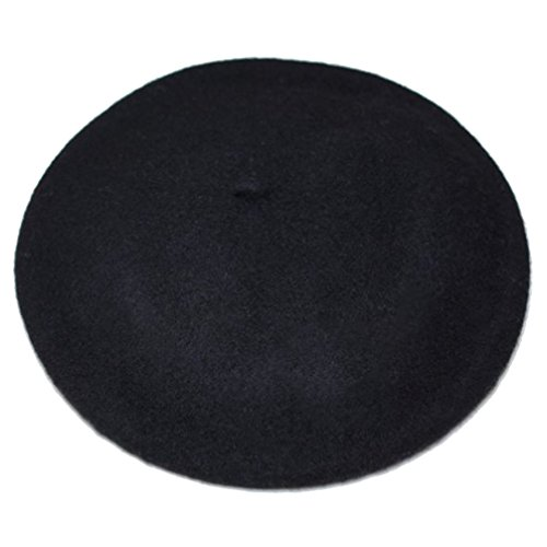 FSLESI Solid Color French Wool Beret Hats Cap (Black)