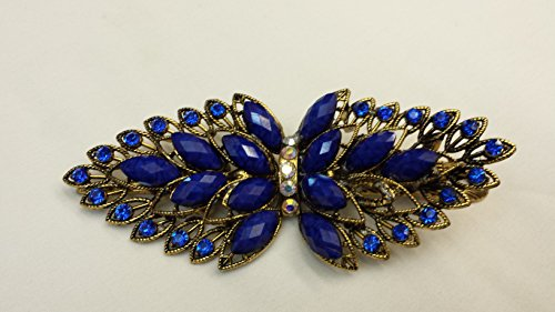 Gorgeous Vintage Jewelry Crystal Bow Design Fashion Hair Clips Hair Pins Hair Sticks - Large Size - Sapphire Blue Color -For Hair Beauty Tools (Crystal Bow Barrette)
