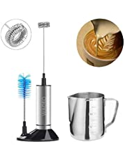 Milk Frother Electric WADEO Milk Frother Set Stainless Handheld Foam Maker Creamy Milk Foam Coffee Electric Battery Operated Milk Frother 304 Stainless Steel Cup Frothing Pitcher 12 Oz