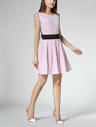 Dames Bobbycool Personnalité De La Mode Sans Manches T-shirt Robe Gilet Rose Pâle Couleur