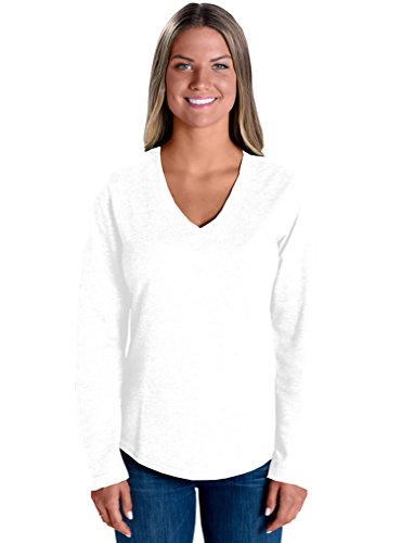 LAT Apparel 100% Cotton Ladies French Terry V-Neck [Medium] White Long Sleeve Tee