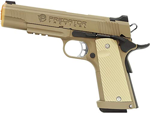 Evike Predator Tactical Iron Shrike Gas Blowback 1911 Airsoft Pistol by King Arms (Color: Dark Earth/Gas/Rail)