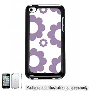 Purple Circle Flowers Pattern Apple iPod 4 Touch Hard Case Cover Shell Black 4th Generation