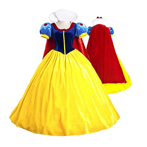 Halloween Classic Deluxe Princess Costume Adult Queen Fairytale Dress Role Cosplay for Adult -
