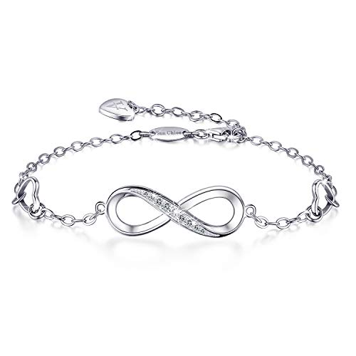 Van Chloe Women 925 Sterling Silver Bracelet Infinity Love Diamond Adjustable Bracelet Teens Girls Women Jewelry Gifts for Mother