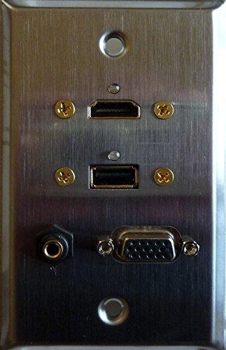 Stainless Steel HDMI + USB 3.0 + VGA + 3.5MM Feed Thru Wall Plate - Philmore - Plate Vga Wall Usb