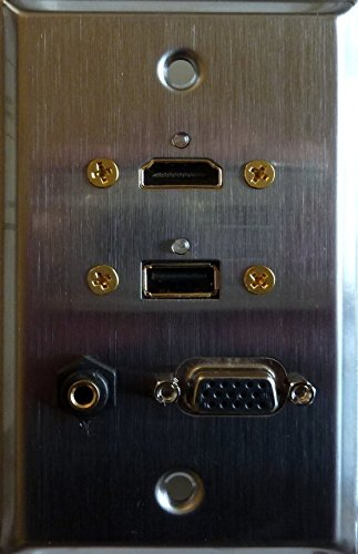 Stainless Steel HDMI + USB 3.0 + VGA + 3.5MM Feed Thru Wall Plate - Philmore 75-1003 (3.5 Mm Feed)