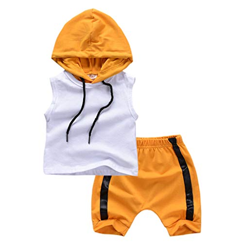 LiLiMeng Kids Infant Newborn Baby Boy Kid Sleeveless Hooded Vest Tops+Shorts Outfits Set Casual Clothes White (Jersey Sleeveless Bib)