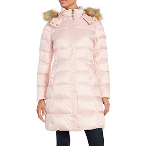 Kate Spade New York Faux Fur-Trimmed Down Puffer Coat, Medium - Pastry Pink