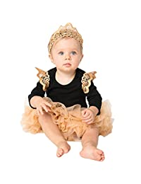 Baby Girls Christmas Black Long-sleeved Wings Tutu Dress Party Jumpsuit Headband Set