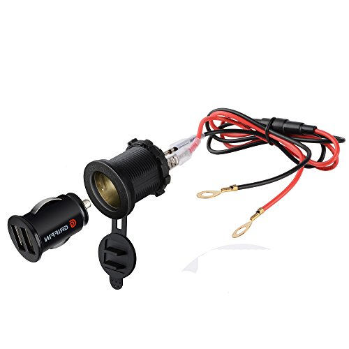 (BlueFire 3in1 Waterproof Motorcycle Scooter Cigarette Lighter Socket Power Plug + Dual 3.1A USB Charger Socket + 60CM Power Cable)