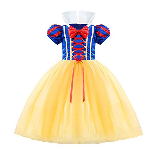 Grils Princess Dress Snow White Cotume Halloween Party Carnival Fancy Dress up Size (110) 3-4 Years Yellow -