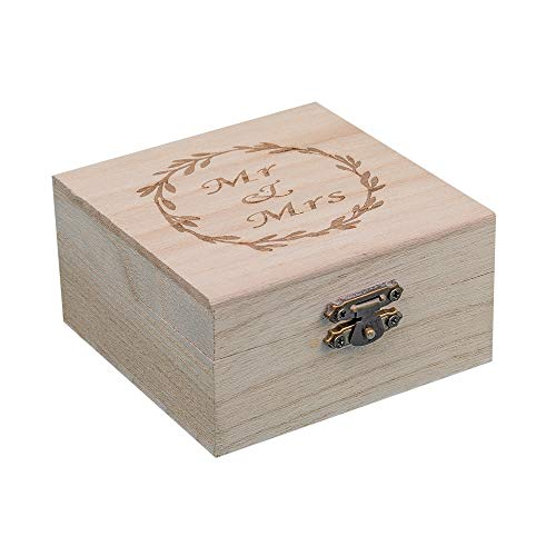 (senover Wooden Mr Mrs Wedding Ring Box Wedding Ring Bearer Box Ring Bearer Pillow Shabby Chic Ring Box for Engagement Anniversary Valentine's Day Decorative Jewelry Box Favor Gift)