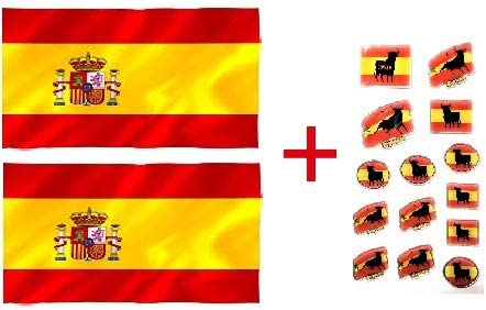 Housemarket Bandera España Grande, 2 Unidades + Pegatinas Toro ...