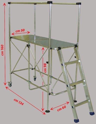 PLATFORM Aluminium Working Platform Mini Scaffold Tower LADDER- 3m working height Foldable Platform -Step up Ladder -up 150 kg -weights only 16 kg STILLIAC