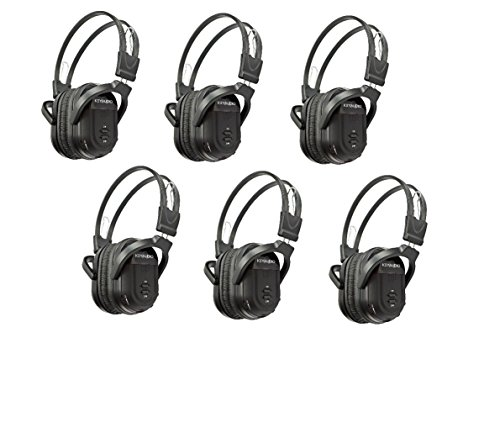 6 Pack of Two Channel Folding Universal Rear Entertainment System Infrared Headphones Wireless IR DVD Player Head Phones for in Car TV Video Audio Listening