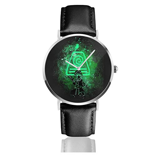 Unisex Business Casual Avatar The Last Airbender Toph Art Earth Symbol Watches Quartz Leather Watch with Black Leather Band for Men Women Young Collection Gift (Avatar Phone Watch)