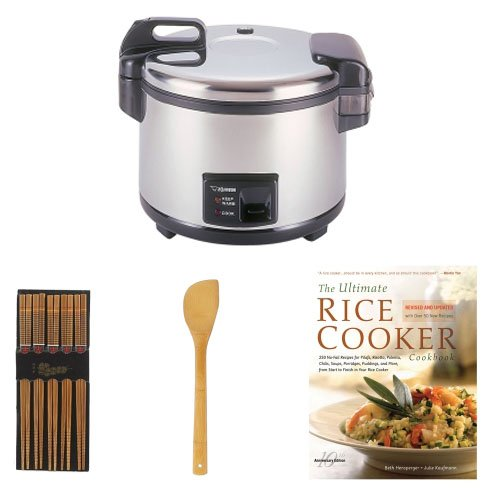 Zojirushi NYC-36 20-Cup Commercial Rice Cooker & Warmer Bundle with Cookbook + Silk Wrapped Chopsticks + 2 Oil & Vinegar Bottles + Bamboo Spatula Spoon by Zojirushi