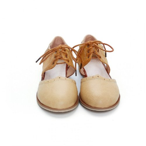 Charm Foot Vintage Womens Casual Flat Sandals Shoes (10, Apricot)