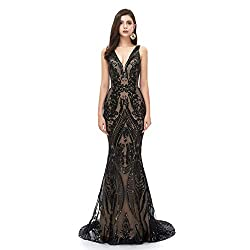 Style D (Black) Long Sequin Mermaid Dress Sleeveless