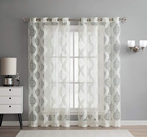 HLC.ME Adel Damask Burnout Window Sheer Voile Curtain Grommet Panels - Set of 2-96