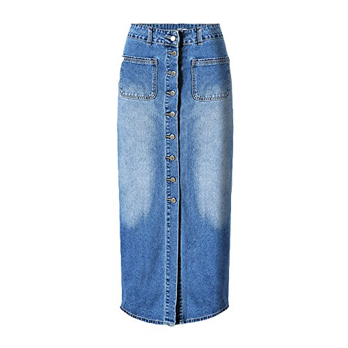 Cheap Dreamskull Women's High Waist Button Fly Skinny Denim Long Maxi Skirts