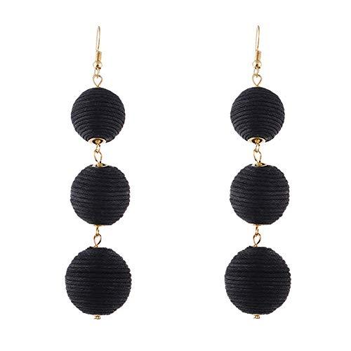 Thread Wrapped Triple Balls Dangle Tassel Earrings Soriee Drop Earrings for Women Girls (Black)