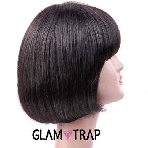 (China Bang Bob Wig 80% Density Short Straight Bob Wig with Bangs, Human Hair, Machine Made Non Lace Full Wig for #1B Natural Black 10 inches 110g)