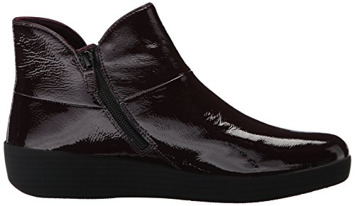 FitFlop™ Women's Supermod™ II Patent Leather Zip Ankle Boot Deep Plum-Plum-7 Size 7