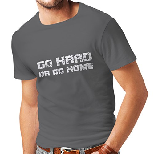 T Shirts for Men Go Hard or Go Home! - Sayings for Motorcycle, for Bike, for Skate, for Roller Riders (Medium Graphite Multi Color)